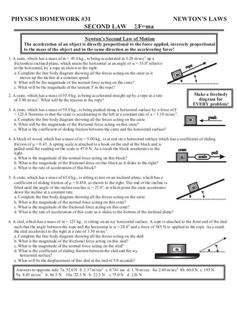 Projectile Motion Worksheet Answer Key
