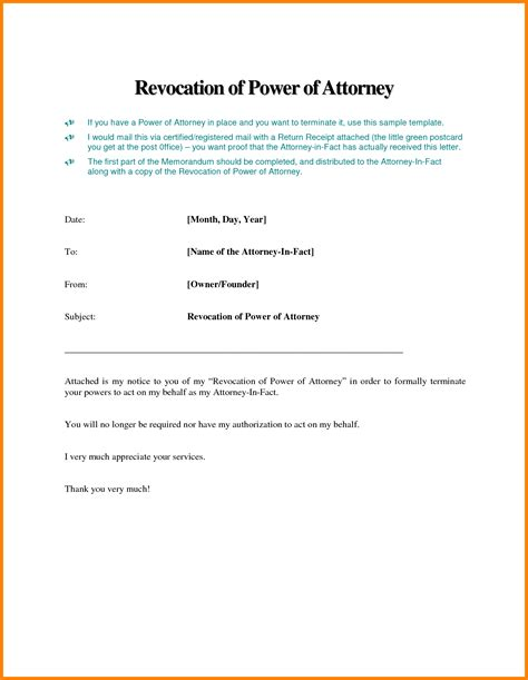 Resignation Letter Of Attorney In Fact 7 Power Of Attorney Business Letter Sle Ledger Paper