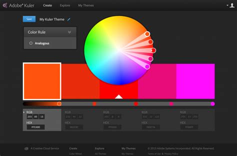 color themes kuler kuler from adobe is now available