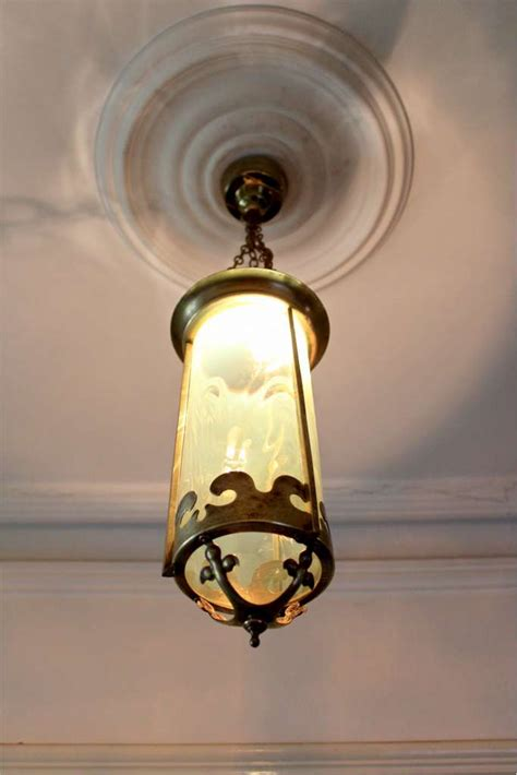 hanging chain ls in pretty arts and crafts hanging lantern with vaseline shade
