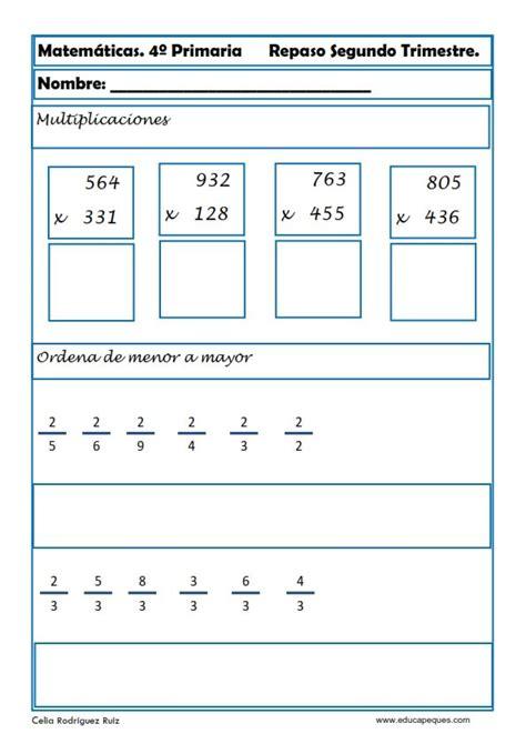 matematicas cuarto de primaria ejercicios recursos educativos ejercicios matem 225 ticas primaria hoy