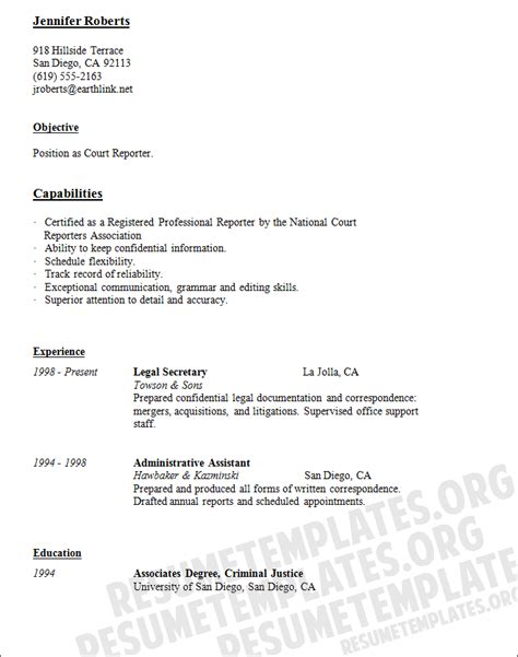 court reporter resume template secretarial services resume sles