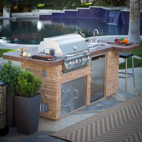 Sink For Outdoor Kitchen Bbq Island Outdoor Kitchen Reveal Our Housetory Inside Outdoor Kitchen Sinks And Faucets Diy