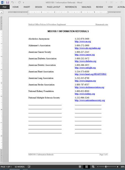 referral list template information referrals list template