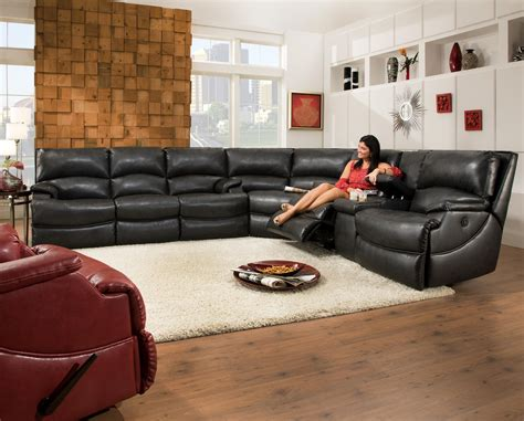 southern motion sectional sofa shazam six seat reclining sectional sofa with cup holders
