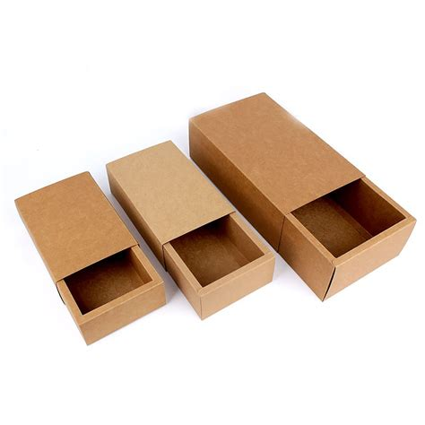 Paper Boxes - brown kraft paper folding drawer gift box 3 sizes
