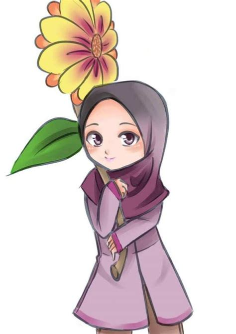 foto kartun muslimah bercadar cantik
