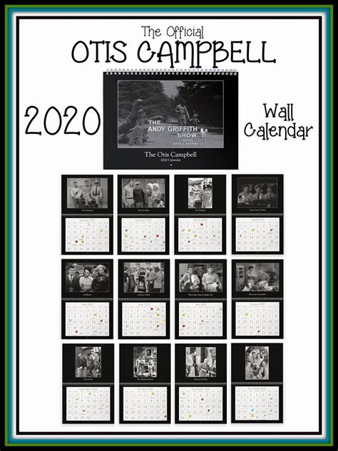 official otis campbell  wall calendar  images wall calendar  andy griffith