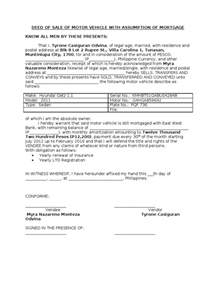 deed of sale template deed of sale of motor vehicle with assumption of mortgage