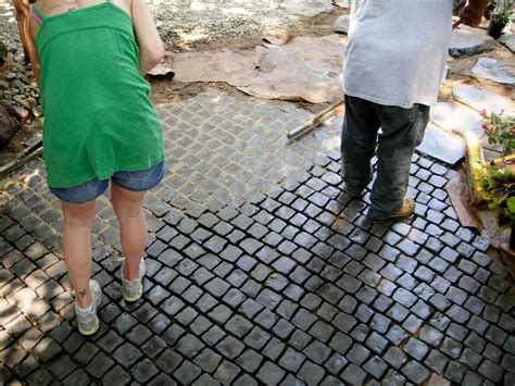 How To Install A Cobblestone Patio On Concrete Or Bare Grout For Patio Stones