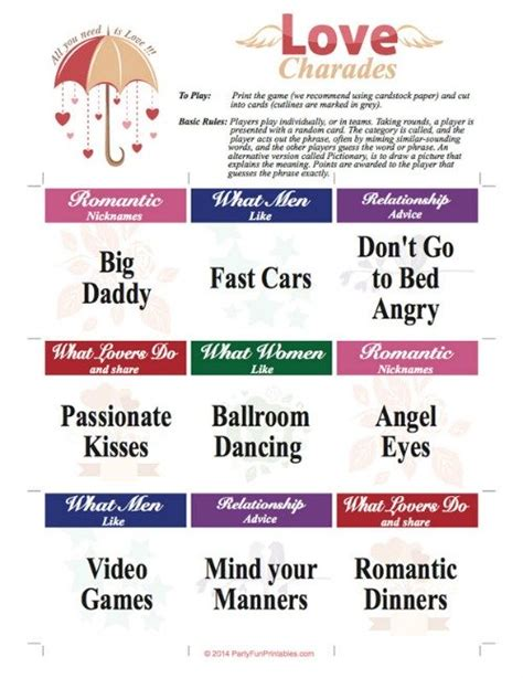 printable bridal shower charades bridal shower games fun interactive game ideas for your