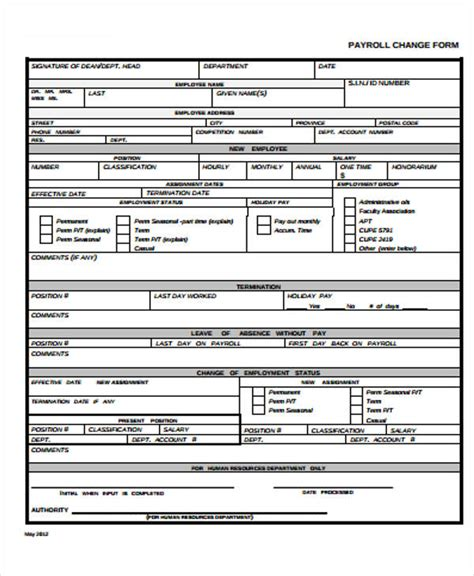 payroll change form template free 11 payroll templates free sle exle format free