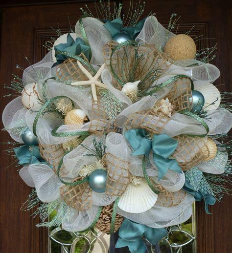 Seashell Bathroom Decor Ideas Deco Mesh Shabby Chic Beach Wreath