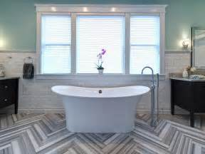 blue bathtub contemporary blue bathroom with herringbone floor hgtv