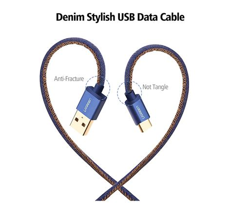 Exporia Design Denim Kabel Cable Charger Usb Type Tipe C ugreen type c cable denim braided sync and fast charging data cable for android mobile phone