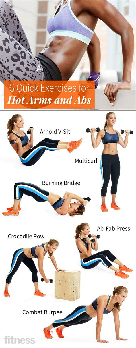 quick exercises  hot arms  abs fitness magazine