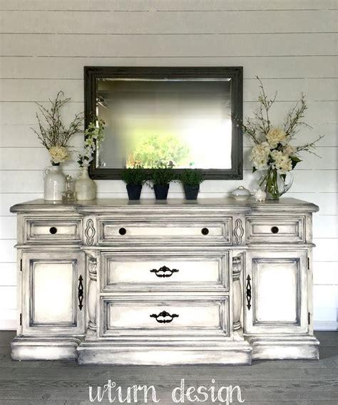 white buffet  grey glaze  uturn design