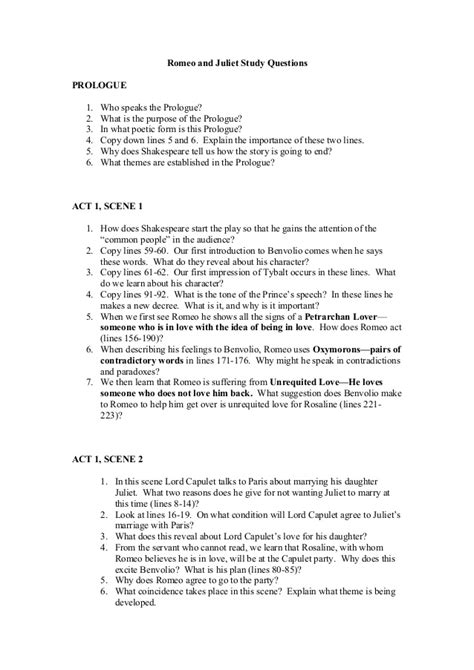 romeo and juliet themes quiz romeo and juliet study questions