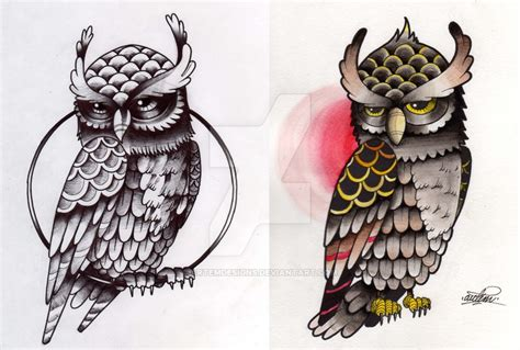 tattoo flash owl tattoo flash owl by artemdesigns on deviantart