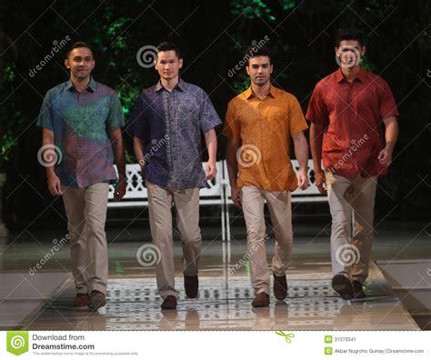 Baju Kemeja Batik Tribal 1 Cowok Pria Formal 3 asian model at fashion show runway editorial photo image 31373341