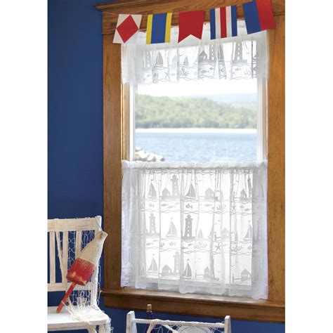 Lighthouse Window Curtains Lighthouse And Sailboat Valances And Tiers