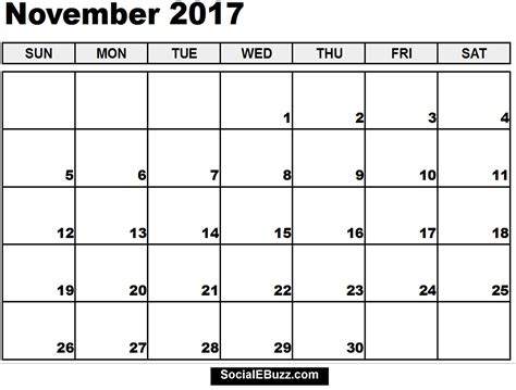 printable monthly calendar november november 2017 calendar printable template with holidays