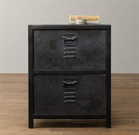 Metal Locker Nightstand Vintage Locker 2 Drawer Nightstand