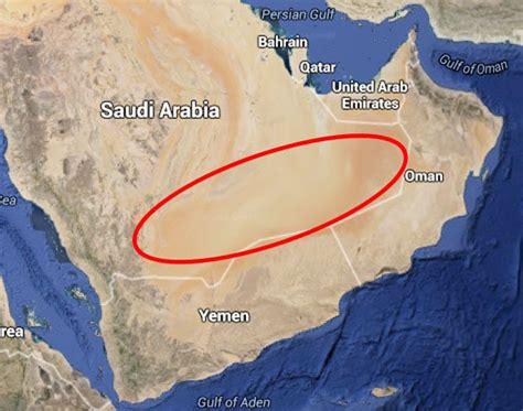 middle east map rub al khali desert mysterious river discovered in saudi arabia empty