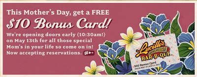 Costco Lucille S Gift Card - lucille s bbq free 10 bonus card on mother s day norcal coupon gal