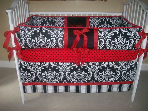 red and black crib bedding black and white and red baby bedding 4 piece set ladybug
