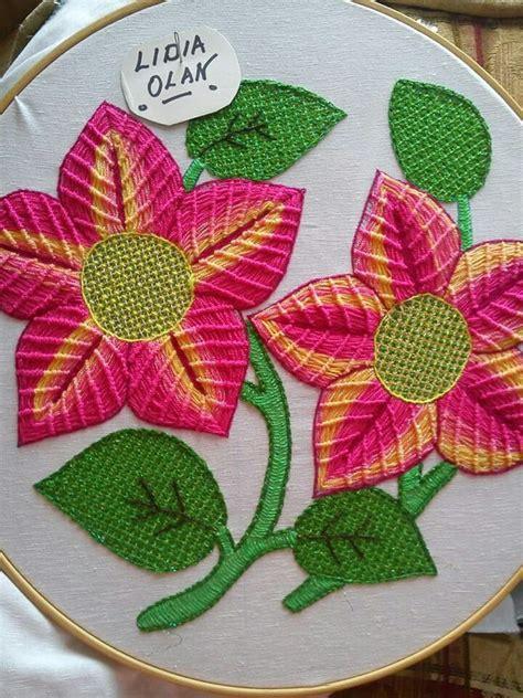 como bordar servilletas puntada fantas 237 a flores bordado mexicano pinterest