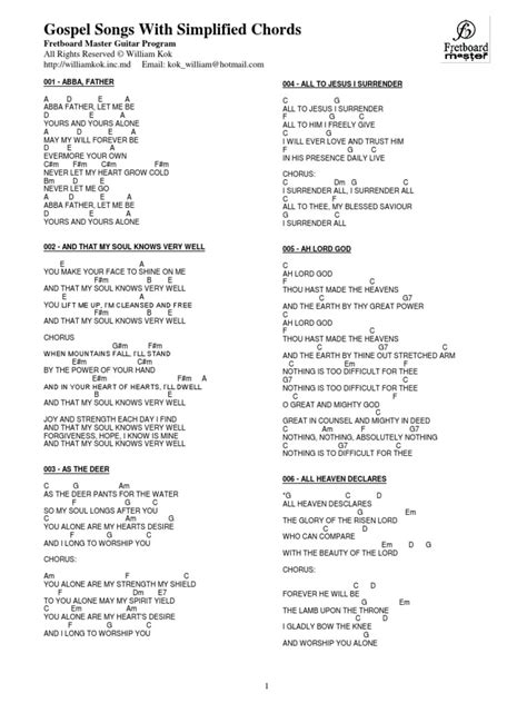 The Cribs Chords by Gospel Songs Chords Part 2