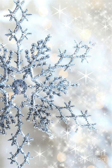closeup of snowflake pastel blue christmas wonderland