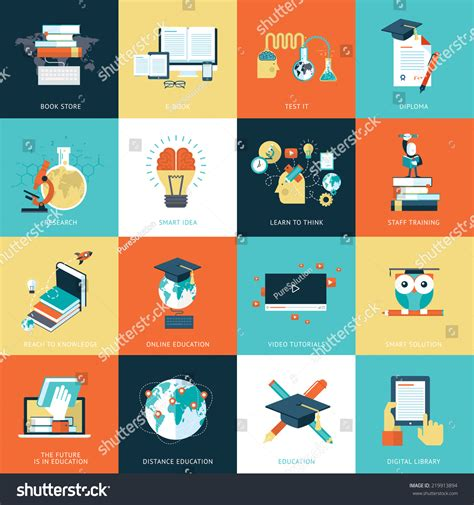 design online training set flat design icons education icons stock vector