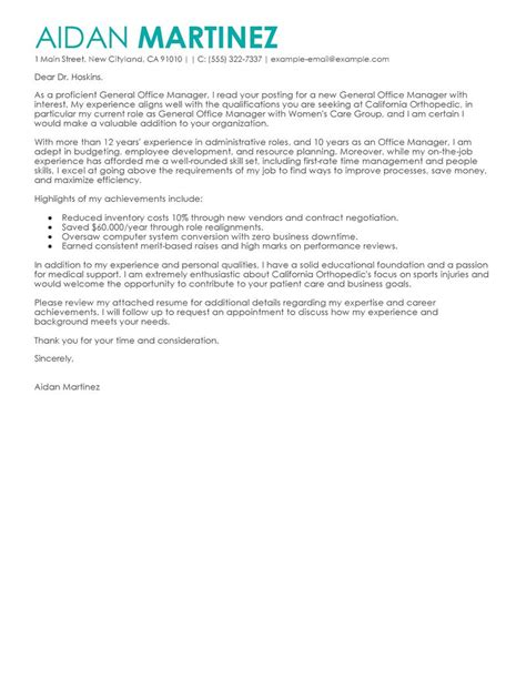General Manager Cover Letter Examples   Administration