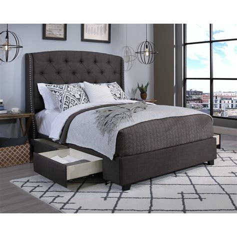 grey upholstered queen bed peyton grey queen upholstered bed 12351 b the home depot