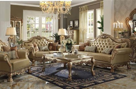 Acme Furniture Coffee Table by Dresden 2 Piece Living Room Set In Gold Patina Finish By
