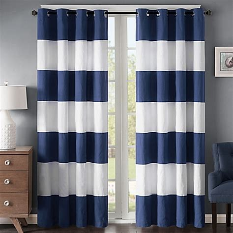 navy white striped curtains buy regency heights parker stripe 63 inch grommet window