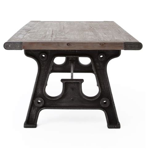 boone industrial reclaimed grey wood cast iron 86 quot dining