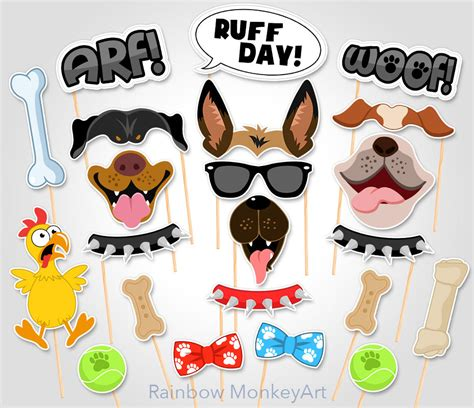 printable puppy dog photo props dog photo booth props dog printable dog party photo booth props dogs photobooth props