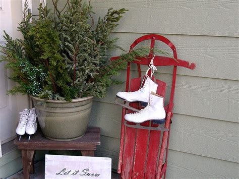 winter porch decorations or winter front porch or stoop decorating idea