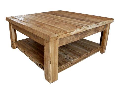 Gerina international rustic woden square coffee table