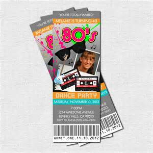 80 s ticket invitations print your own personalized printable 1980 s birthday 9 00