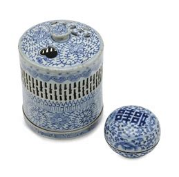 blue and white desk accessories two blue and white porcelain desk accessories