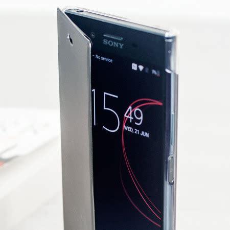 roxfit sony xperia xz premium pro touch book case black clear