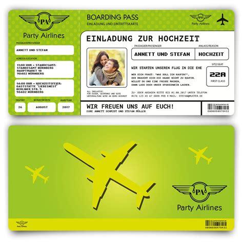 Hochzeitseinladung Als Ticket by Hochzeitseinladungen Als Flugticket In Gr 252 N Bestellen