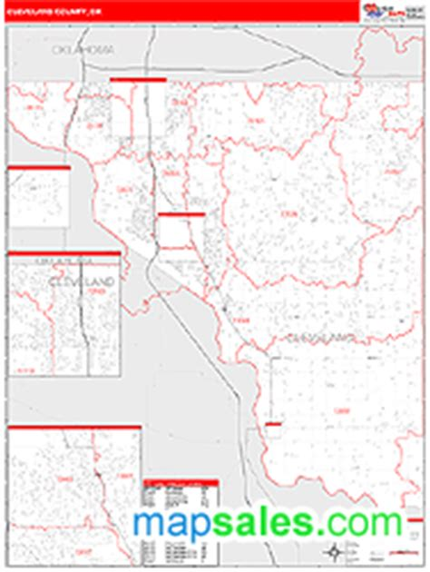zip code map norman ok cleveland county ok zip code wall map red line style by