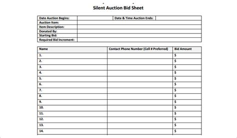 template for silent auction bid sheet 12 silent auction bid sheet templates free word excel