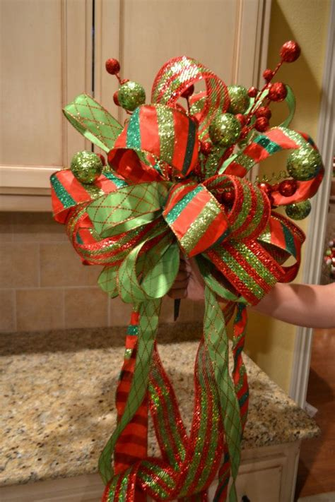 lime green  red striped ribbon tree topper  kristenscreations  images tree toppers