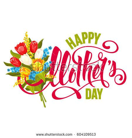 Mothers Day Logo Mothers Day Design Calligraphic Lettering Bouquet Stock